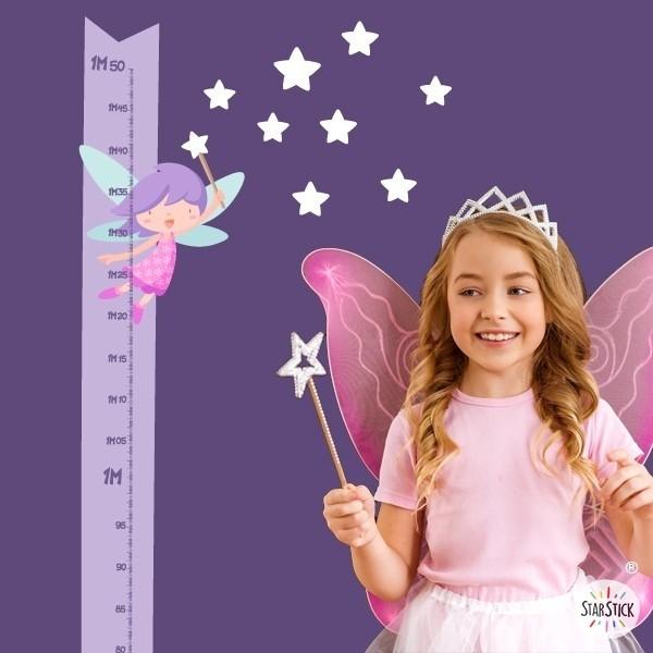 Fée avec baguette et étoiles - Sticker toise