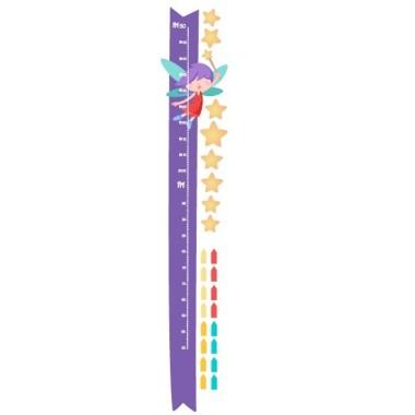 Fée avec baguette et étoiles jaunes - Sticker toise Toises Taille de la feuille: 30x135 cm Taille du montage:55x135 cm  Comprend 16 étiquettes pour marquer ce que vous voulez! vinilos infantiles y bebé Starstick