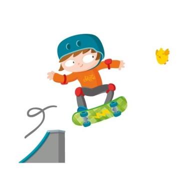 Vinilo niño Skater - vinilos infantiles originales Vinilos infantiles Niño El vinilo niño original y ideal para los amantes del skate. No lo dudes más y decora tu pared con éste súper skater a todo color. ¡Si quieres lo puedes personalizar con tu nombre! Medidas aproximadas del vinilo montado (ancho x alto) Pequeño:80x70 cm Mediano:110x90 cm Grande: 140x120cm Gigante:190x160 cm   AÑADE UN NOMBRE AL VINILO DESDE 9,99€   vinilos infantiles y bebé Starstick