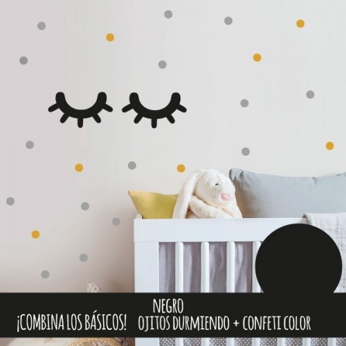 Vinilos decorativos estilo nórdico Ojitos durmiendo/ Sleepy eyes- Vinilos decorativos de pared