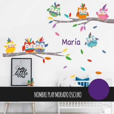 sticker enfant chouette sur une branche d 39 arbre. Black Bedroom Furniture Sets. Home Design Ideas