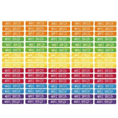 Modelo lego - Etiquetas multiuso rectangulares - Mini Etiquetas multiuso rectangulares - Mini Etiquetas con nombre de la marca StarStick. Resistentes al agua, al microondas y al lavavajillas. No lo dudes y empieza ya a marcar todos los objetos de manera fácil y rápida. Material:Vinilo plastificado mate Tamaño de cada etiqueta: 3,5x0,7 cm Unidades:Packs de 80 o 160 etiquetas Líneas imprimibles: 1 vinilos infantiles y bebé Starstick