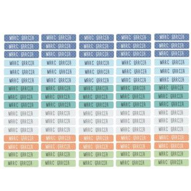 Etiquetes multiús. Rectangulars mini - Model 25 Etiquetes multi rectangulars - Mini Etiquetes amb nom de la marca StarStick. Resistents a l'aigua, al microones i al rentaplats. No ho dubtis i comença ja a marcar tots els objectes que vulguis de manera fàcil i ràpida. Material:Vinil plastificat mat Mida de cada etiqueta: 3,5x0,7 cm Unitats: Packs de 80 o 160 etiquetes Línies imprimibles: 1 vinilos infantiles y bebé Starstick