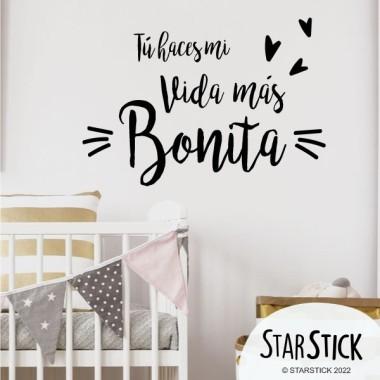 """""""Tú haces mi vida más bonita"""" Castellà - Vinils amb frases personalitzades"""