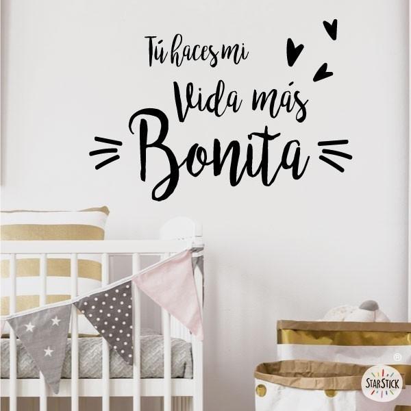 """""""Tú haces mi vida más bonita"""" Espagnol - Stickers phrase"""