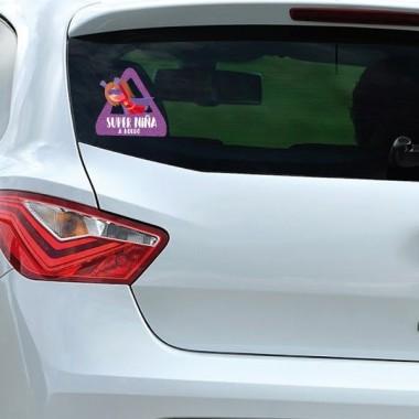 triángulo adhesivo de Bebé a Bordo Súper niña a bordo–  Adhesivo para coche