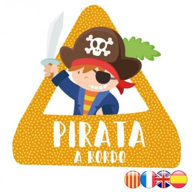 Pirata a bordo - Triángulo adhesivo Bebé a Bordo