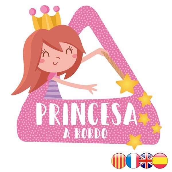 triángulo adhesivo de Bebé a Bordo Princesa a bordo–  Adhesivo para coche
