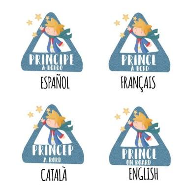 """Prince à bord - Adhésif pour voiture Stickers bébé à bord Adhésif pour voiture """"Prince à bord"""" Dimensions: 16x15 cm Matériau:Sticker autocollantpelliculage vinilos infantiles y bebé Starstick"""
