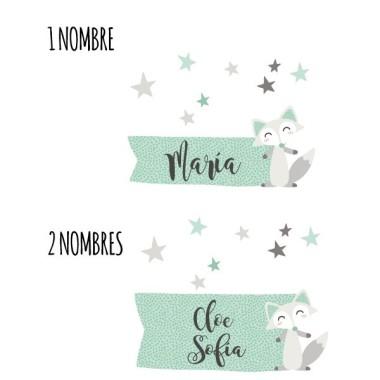Zorro estilo nórdico - Nombre para puertas Vinilo infantil Vinilos para puertas Vinilo de estilo nórdico personalizable con uno o dos nombres. Vinilos para pegar en la puerta de las habitaciones y dar un toque especial al hogar. Tamaño de la lámina y montaje 1 nombre: 25x20 cm 2 nombres: 25x25 cm   vinilos infantiles y bebé Starstick