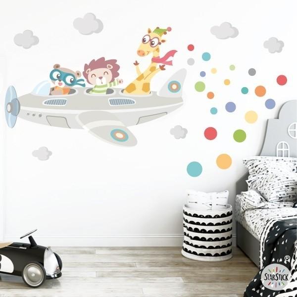 Vinyle bébé Avions animaux - autocollants muraux enfant