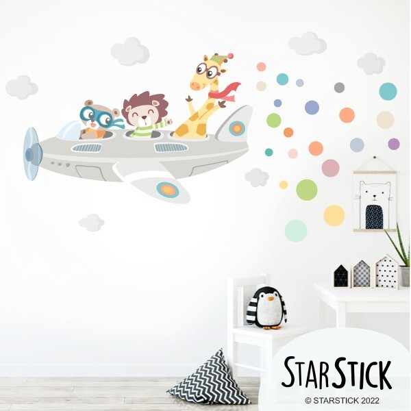 avion avec animaux sticker muraux chambre b b. Black Bedroom Furniture Sets. Home Design Ideas