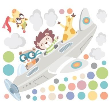 Vinils per nadons - Avió amb animals Vinils nadó Vinil infantil decoratiu per a nens i nadons amb un divertit avió amb animals que tiren confeti. Vinil infantil per decorar habitacions de nens i nenes i donar-li un toc molt personal.  Mides aproximades del vinil enganxat (ample x alt)   Bàsic: 85x30 cm Petits: 110x45 cm Mitjà: 160x65 cm Grans: 240x100 cm Gegant: 320X140 cm  AFEGEIX UN NOM al VINIL per 9,99€  vinilos infantiles y bebé Starstick