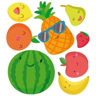 Fruites - Vinil decoratiu infantil Vinils educatius / escoles     Divertides il·lustracions de fruites per decorar menjadors escolars, zones de joc, aules... Atreveix-te i fes un canvi d'estila les parets del teu menjador. Mides aproximades del vinil enganxat (ample x alt) Petit: 90x50 cm Mitjà: 140x60 cm Gran: 200x90 cm Gegant: 270x115 cm     vinilos infantiles y bebé Starstick