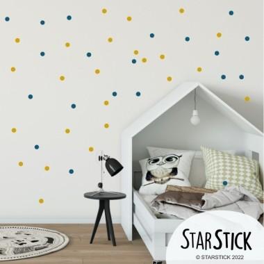 Mini confetti. 3 Couleur à choisir - Sticker muraux Stickers triangle et dots Les Tailles 65 dots (22 + 22+ 21) de 3 cm de diamètre chacune  vinilos infantiles y bebé Starstick