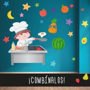 Cuisiner - Sticker pour enfant Vinyle éducatif / écoles Dimensions approximatives (largeur x hauteur) Petit:90x70 cm Moyen: 120x86 cm Grand: 185x130 cm Géant: 228x162 cm  vinilos infantiles y bebé Starstick