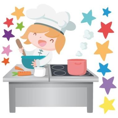 Cuisinier - Sticker pour enfant Vinyle éducatif / écoles Dimensions approximatives (largeur x hauteur) Petit:90x70 cm Moyen: 120x86 cm Grand: 185x130 cm Géant: 228x162 cm  vinilos infantiles y bebé Starstick