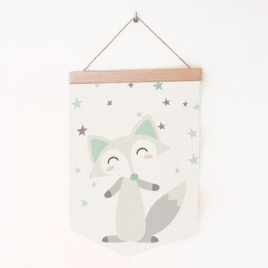 Bannières bébé - Le renard style nordique Bannières Dimensions (largeur x hauteur) Moyen:19,5x29 cm Grand:24x35 cm   vinilos infantiles y bebé Starstick
