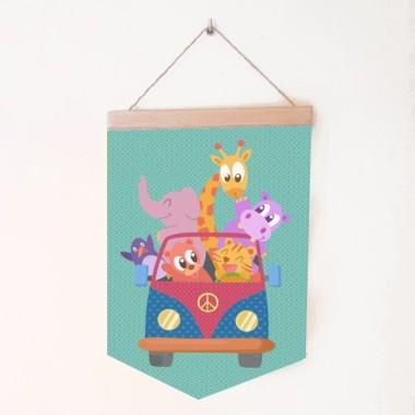 Bannières de bébé - Furgo avec animaux