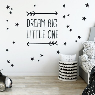 Dream big little one - Stickers bébé Stickers phrase Dimensions approximatives (largeur x hauteur) Basique: 20x20 cmPetit: 32x32 cmMoyen: 45x45 cmGrand: 60x60 cm   vinilos infantiles y bebé Starstick