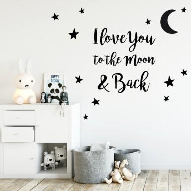 Stickers bébé - Je t'aime à la lune et retour