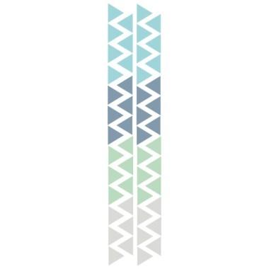 Triangle nordique mint - Sticker bébé Stickers triangle et silhouettes Les Tailles Taille de la feuille: 60x12 cm 1 triangle: 3,5 x 4 cm Nombre de triangles: 50 (13 bleu gris, 13 turquoise, 12 vert menthe et 12 gris clair)  AJOUTER UN PRÉNOM À PARTIR DE 9,95 € vinilos infantiles y bebé Starstick