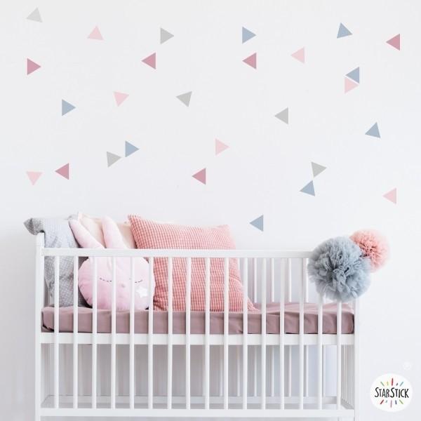 Vinilos bebé - Triángulos nórdicos color rosa palo