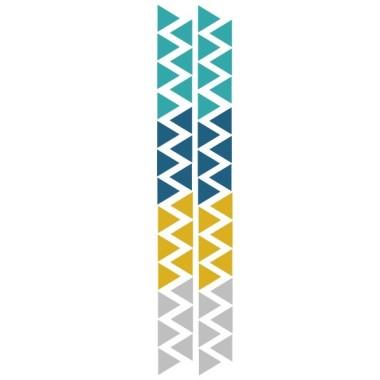 Triángulos nórdicos combinación mostaza - Vinilos bebé Vinilos triángulos y siluetas Triángulos de vinilo de distintos colores para decorar paredes. La solución ideal para decorar paredes con mucho gusto y poco esfuerzo. Medidas del vinilo Tamaño de la lámina: 60x12 cmTamaño de cada triangulo: 3,5 x 4 cmNúmero de triángulos: 50 (12 gris,14 mostaza, 12 verde turquesa y 12 azul)      AÑADE UN NOMBRE AL VINILO DESDE 9,99€         vinilos infantiles y bebé Starstick