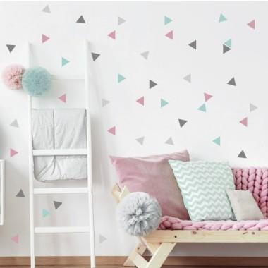 Triangles nòrdics combinació rosa gris - Vinils nadó