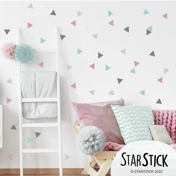 Triángulos nórdicos combinación rosa gris  - Vinilos bebé
