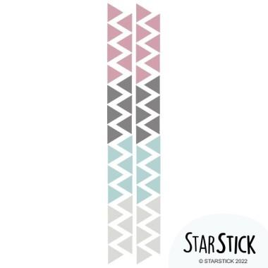 Triangles nòrdics combinació rosa gris - Vinils nadó Vinils triangles i siluetes Triangles de vinil de diferents colors per decorar parets. La solució ideal per a decorar parets amb molt de gust i poc esforç. Mesures del vinilMida de la làmina: 60x12 cmMida de cada triangle: 3,5 x 4 cmNombre de triangles: 50 (14 rosa gris, 12 gris fosc, 12 blau turquesa i 12 gris clar) AFEGEIX UN NOM AL VINIL DES DE 9,99 € vinilos infantiles y bebé Starstick