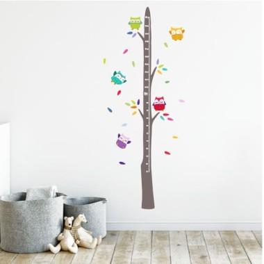 Medidor Buhos en el árbol  - Vinilos infantiles