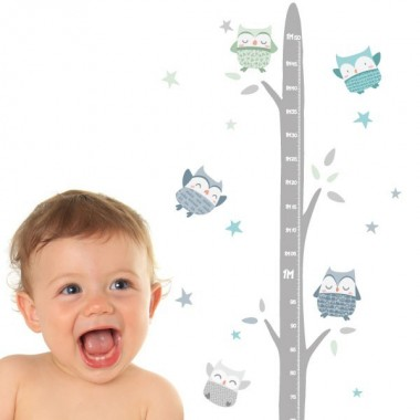 Medidor Búhos Mint - Vinilos infantiles