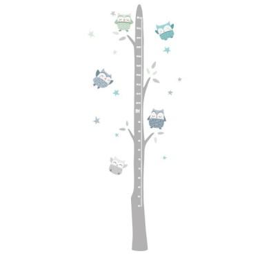 Sticker toise - Hiboux Mint Toises Dimensions approximatives (largeur x hauteur) Taille du montage: 50x135 cm Taille de la feuille: 20x60 cm Taille approximative des hiboux: Entre 9 et 10 cm Comprend 16 étiquettes pour marquer ce que vous voulez! vinilos infantiles y bebé Starstick