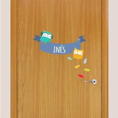 Bleu Hiboux - Sticker nom de porte