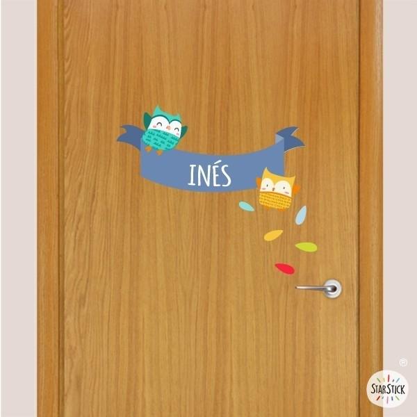 Búhos Azules - Nombre para puertas Vinilo infantil