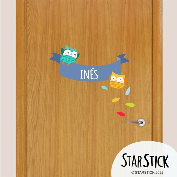 Mussols blaus - Nom per portes Vinil infantil