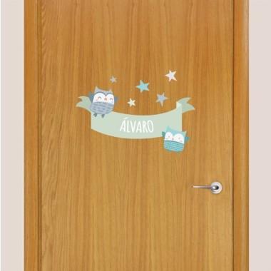 Hiboux - Sticker nom de porte
