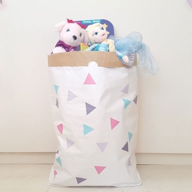 Paperbag - Triangles rose gris - Sac en papier