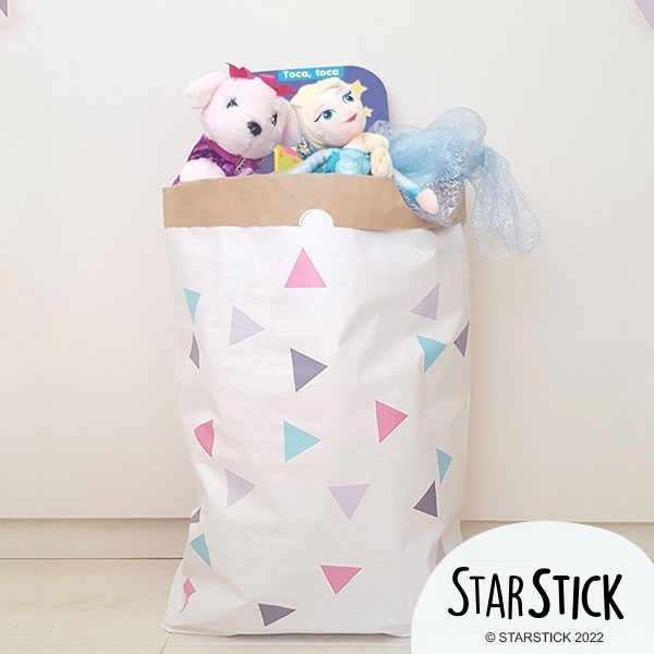 Saco organizador de papel - Triángulos rosa gris