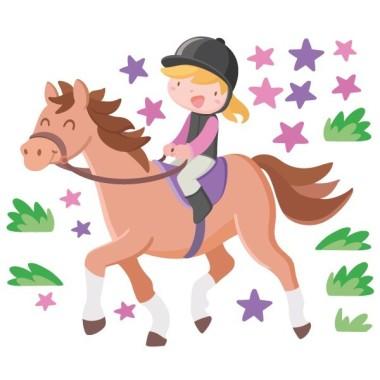 Vinilo infantil - Niña jinete - Caballo alazán Vinilos infantiles Niña Vinilo decorativo ideal para niñas amantes de los caballos y el mundo de la hípica. Un fantástico mural con una feliz jinete montando a caballo y estrellas de distintos tamaños. Vinilos infantiles exclusivos de StarStick. Medidas aproximadas del vinilo montado (ancho x alto) Pequeño: 95x70 cm Mediano:140x100 cm Grande: 170x120 cm Gigante:225x160 cm AÑADE UN NOMBRE AL VINILO DESDE 9,99€ vinilos infantiles y bebé Starstick