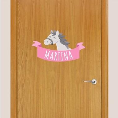 Caballo gris - Vinilo infantil nombre para puertas