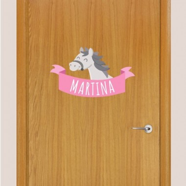 Cavall gris - Vinil infantil nom per a portes