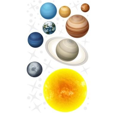 Sistema solar realista – Vinilo infantil del espacio Vinilos infantiles Niño Impresionante vinilo infantil con los planetas del sistema solar. Vinilos decorativos para convertir habitaciones de niños en auténticos espacios. Medidas aproximadas del vinilo montado (ancho x alto) Básico: 95x70 cm Pequeño: 125x85 cm Mediano: 165x110 cm Grande:220x140 cm Gigante: 285x175 cm AÑADE UN NOMBRE AL VINILO DESDE 9,99€ vinilos infantiles y bebé Starstick