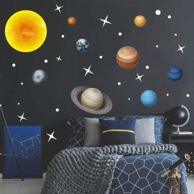 Sistema solar realista – Vinilo infantil fluorescente