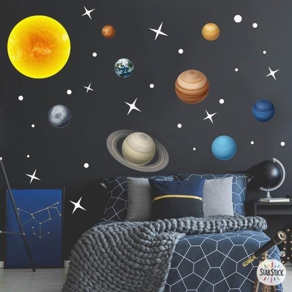 Système solaire réaliste - Sticker fluorescent pour enfants Stickers Garçons Dimensions approximatives (largeur x hauteur) Basique: 95x70 cm Petit: 125x85 cm Moyen: 165x110 cm Grand:220x140 cm Géant: 285x175 cm   AJOUTER UN PRÉNOM À PARTIR DE 9,95 €   vinilos infantiles y bebé Starstick
