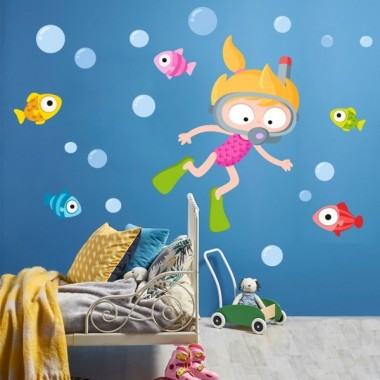 Sticker enfant - Girl diver