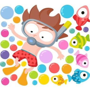 Vinilo infantil - Niño buceador - Vinilos originales Vinilos Infantiles Vinilo infantil original con un niño buceando en un mar lleno de peces de colores. Vinilos decorativos divertidísimos y originales muy atractivos. Para ampliar el mural, lo puedes combinar con el vinilo de la niña buceadora. Medidas aproximadas del vinilo montado (ancho x alto) Pequeño: 110x70 cm Mediano:150x90 cm Grande: 200x150 cm Gigante:285x155 cm AÑADE UN NOMBRE AL VINILO DESDE 9,99€ vinilos infantiles y bebé Starstick