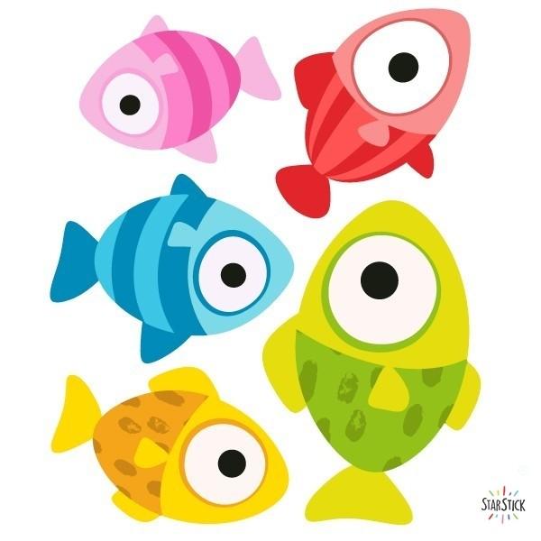 Pack supplémentaire - Poissons Packs supplémentaires Extrapack avec 5 poissonsChaque poisson mesure entre 10 et 16 cm de largeTaille de la feuille: 25x25 cm vinilos infantiles y bebé Starstick