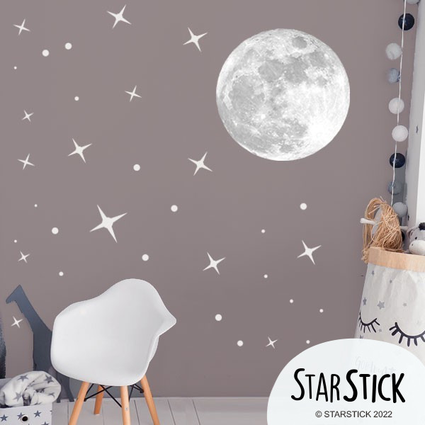 Luna real y estrellas – Vinilo infantil fluorescente